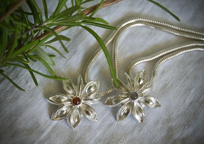 garnet necklace, January birthstone, January birthday, silver flower necklace,