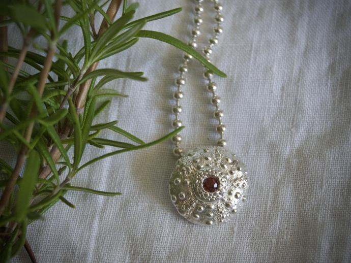 red garnet necklace, January birthstone, January birthday, sea urchin necklace,