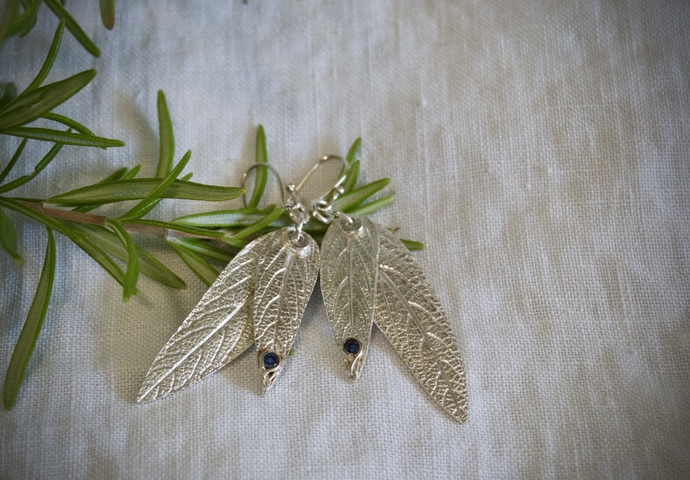 sage leaf earrings, sage earrings, silver sage leaves, blue sapphire earrings,