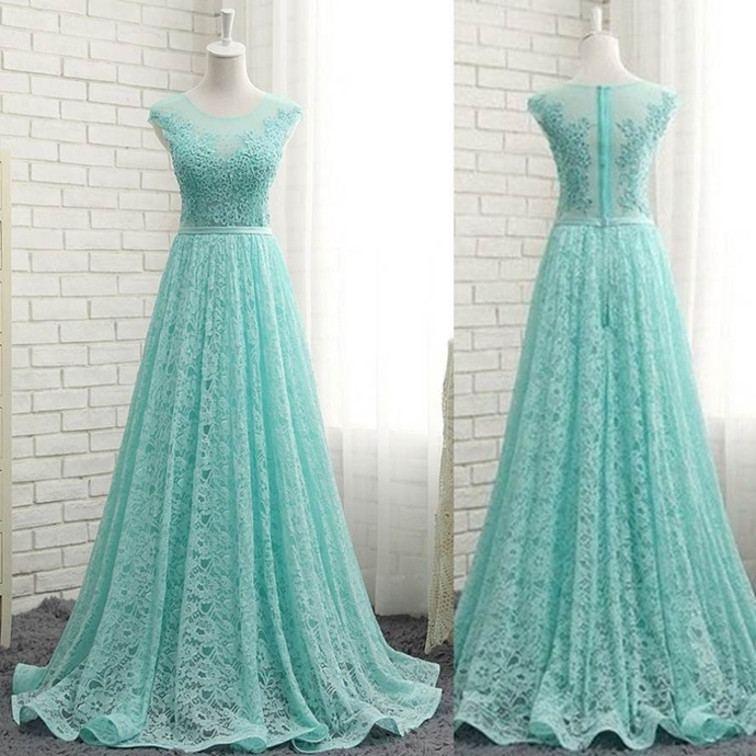 Beading Appliques A-line Lace Prom Dresses Blue Lace Dresses