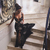 Black Sheer Tulle Mermaid Prom Dresses with Lace Appliques