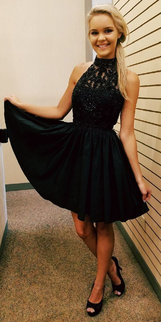 Champagne Party Dresses halter Prom beading Dresses, Sleeveless Prom Dresses,