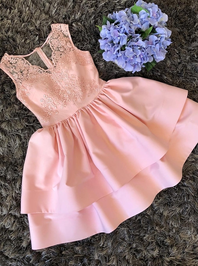 Cute Mini V Neck Homecoming Dress, A Line Two Layers Lace Graduation Dress,