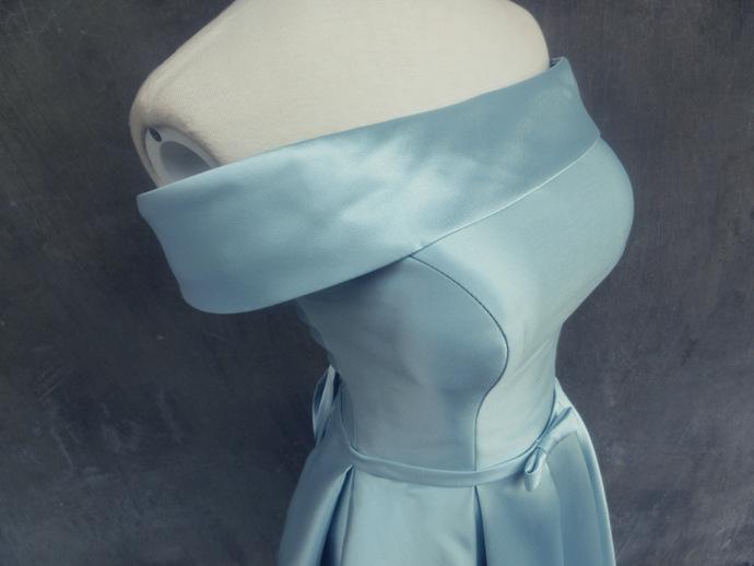 Blue Homecoming Dress, Adorable Short Off Shoulder Dress, Prom Dress 2019