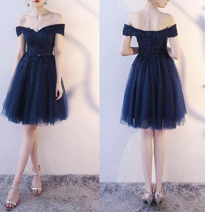 Navy Blue Lace Party Dress, Blue Short Wedding Party Dress
