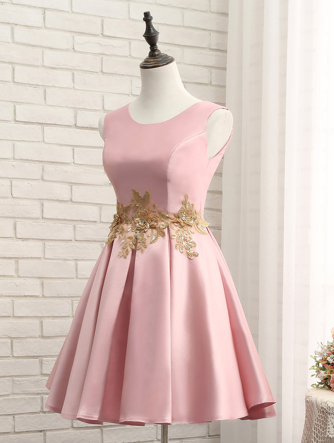 Pink Round Neckline Homecoming Dress, Lovely Short Prom Dress
