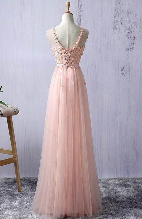 Pink Long Handmade Formal Gown, Pink Party Dress 2019