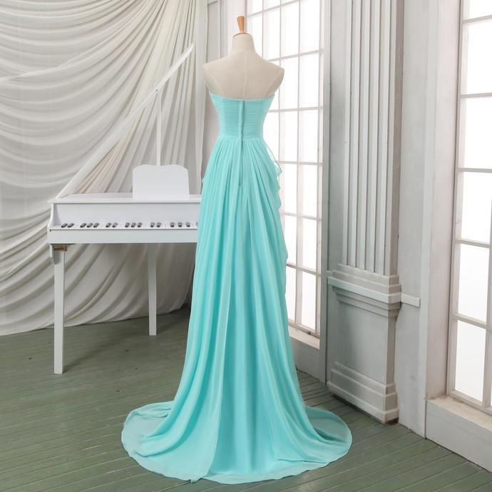 Light Blue Elegant Chiffon Wedding Party Dress, Blue Evening Gown