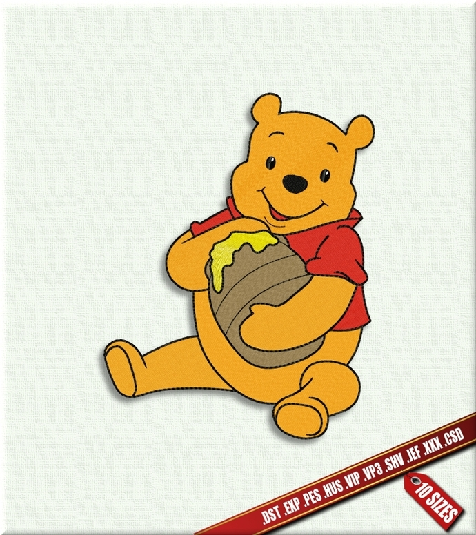 Machine Embroidery Bear Winnie The Pooh By Embroidery Designs On