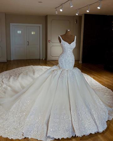 Vintage Wedding Dress,V-neck Wedding Dresses,Satin Wedding Dresses,Mermaid