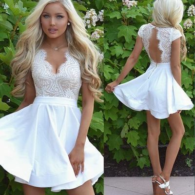 Cap Sleeves White Lace Homecoming Dress Short Prom Dress