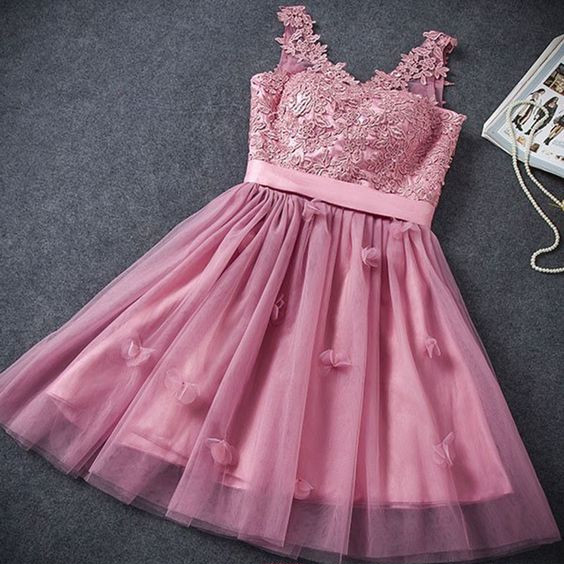 ba98dfd5e83f A-Line Homecoming Dress,Fuchsia Homecoming Dresses,Lace-Up Homecoming