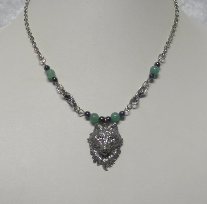 Pewter wolf pendant with aventurine and hematite beads  Z01