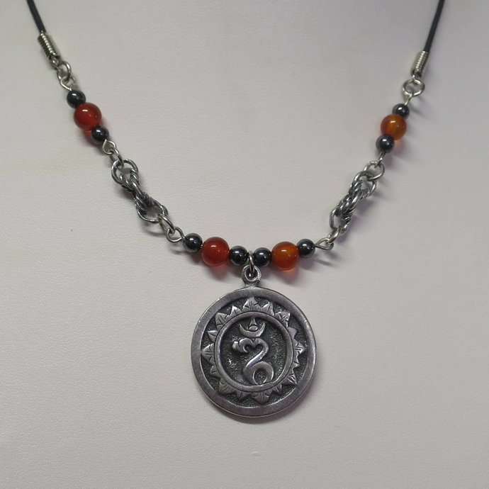 Om symbol with carnelian and Hematite beads CCS160
