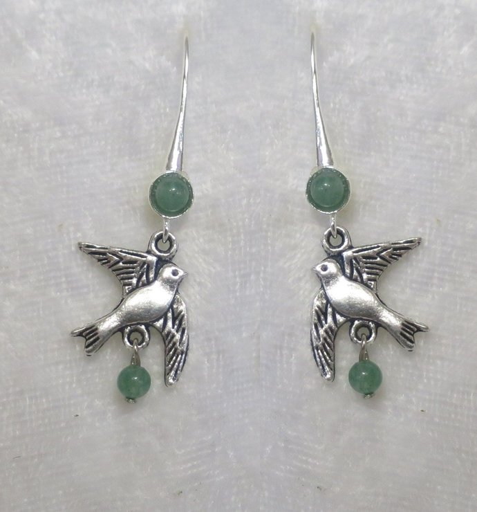 Dove earrings with Aventurine gemstone, nickle free earwires CCS128
