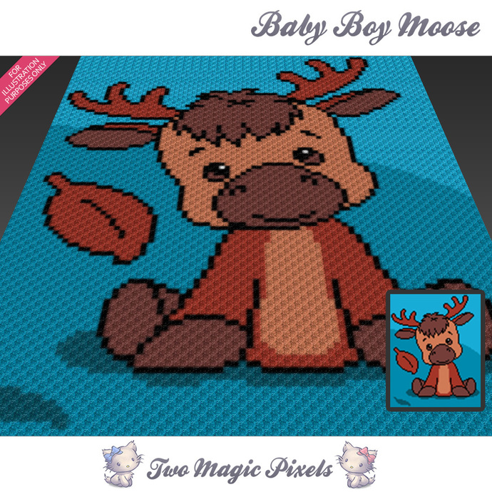 Baby Boy Moose crochet blanket pattern; c2c, cross stitch graph; pdf download;