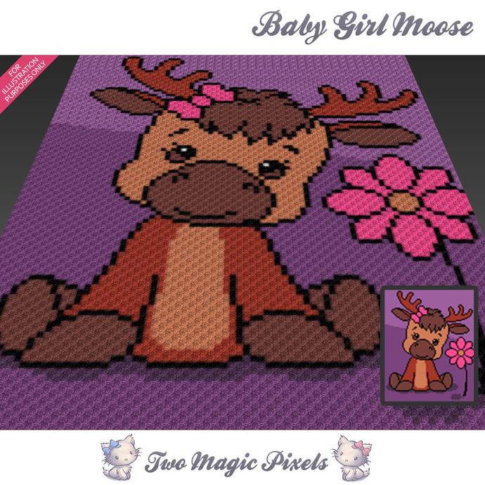 Baby Girl Moose crochet blanket pattern; c2c, cross stitch graph; pdf download;