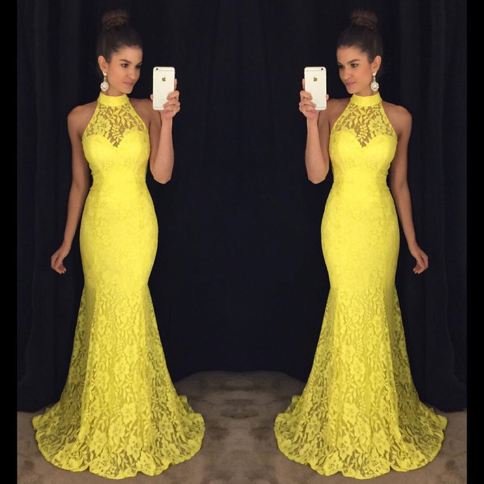 Cheap prom dresses Halter Lace Evening Dresses,Yellow Lace Dresses Evening