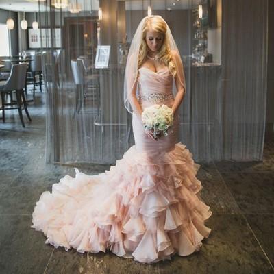 Strapless Mermaid Long Pink Wedding Dress Bridal Gown