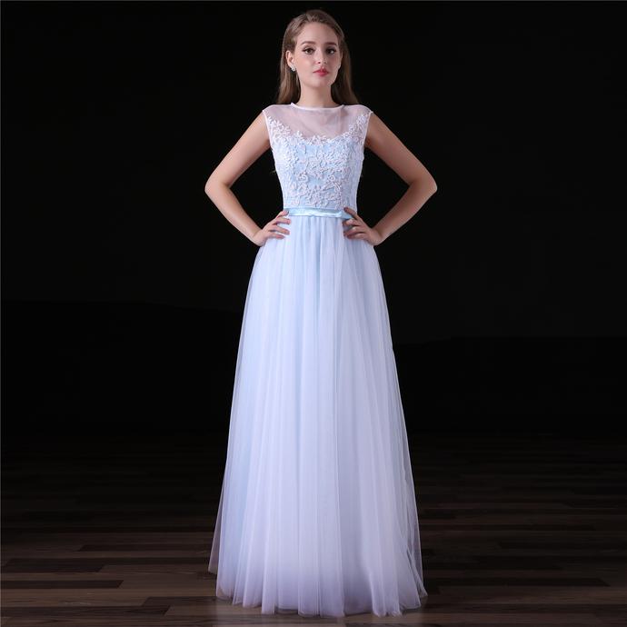Light Blue Lace Applique Prom Dresses , Long by prom dresses on Zibbet