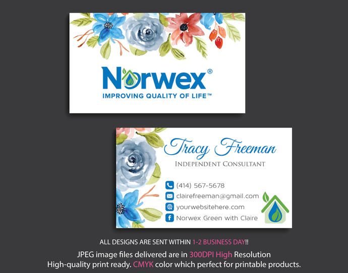 Norwex Green Cleaning business cards, Custom Business Card, Environmentally