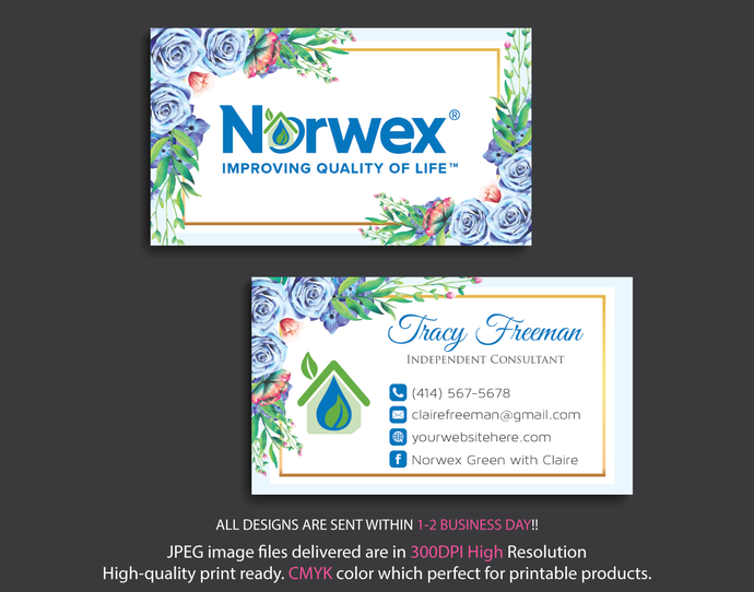 Norwex Green Cleaning business cards, Watercolor Norwex Business Card, Custom