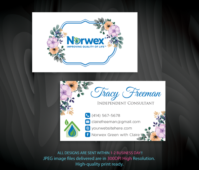 custom business card norwex green cleaning business cards watercolor norwex - Personalized Business Cards