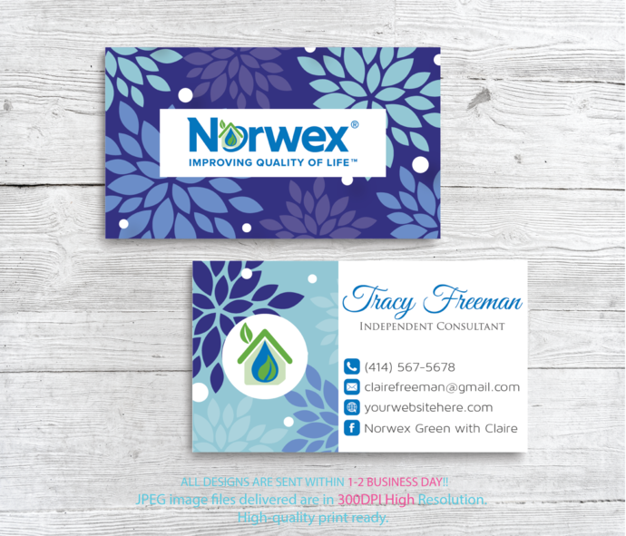 custom business card norwex green cleaning business cards floral norwex - Personalized Business Cards