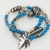 Turquoise Blue Glass Beads, Silver Seed Beads, Multi Strand Bracelet With Leaf