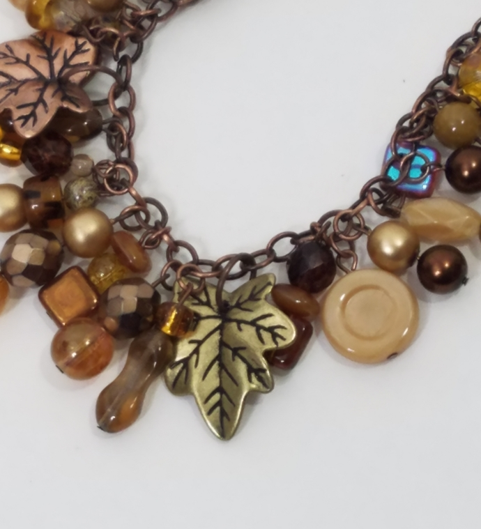 Antique Copper Chain Necklace With Leaf Charms, Mixed Pearls and Crystals in