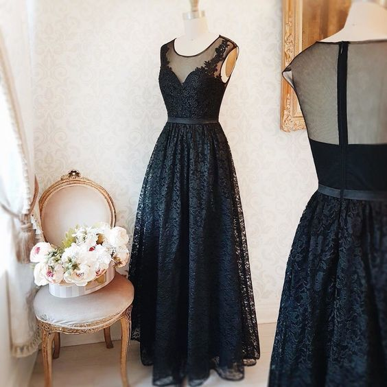 Cheap prom dresses black, lace, a-line, long, O-neck, formal dress, evening