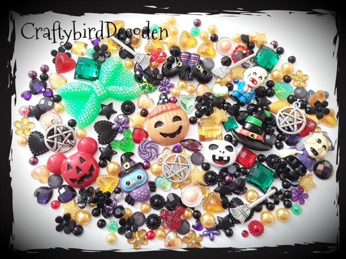 9Huge Halloween themed Diy Decoden kit. Witch, owl, zombie, ghoul, pumpkin.