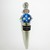 Transparent Aqua Blue Lampwork bead decorated stainless steel wine bottle