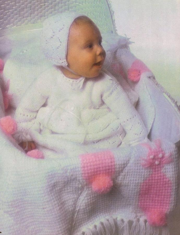 Instant PDF Digital Download Vintage Crochet Pattern a Baby's Bunny Rabbit Motif