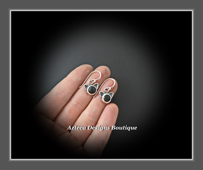 Black Cat~Rosecut Black Onyx Sterling Silver Hand Fabricated Earrings