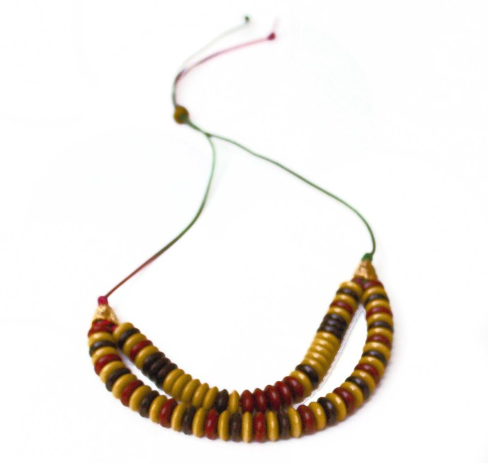 Multicolor two row beadednecklace, rondelle murlo, beige, black acrylic beads,
