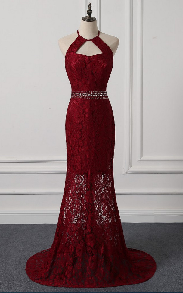 Burgundy Lace Halter Mermaid Evening Dress, Lovely Formal Gown