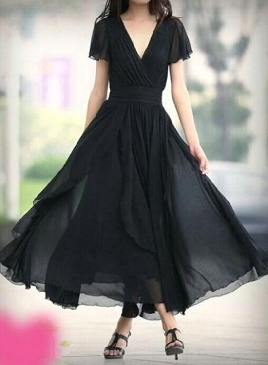 Black Bridesmaid Dress, Chiffon Long Formal Dress, Black Party Dress