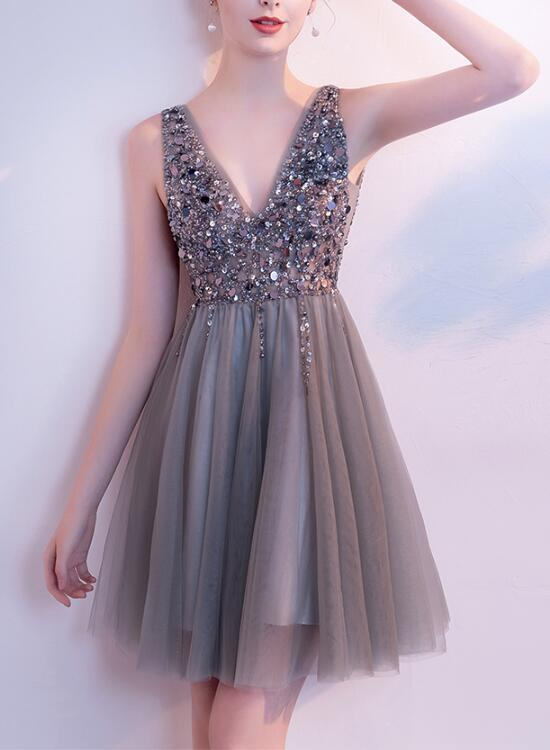 Gorgeous Beaded Grey Short Prom Dress, Lovely Tulle Homecoming Dress