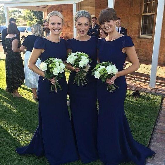 Cap Sleeve Navy Blue Prom Dress,Mermaid Bridesmaid Dress