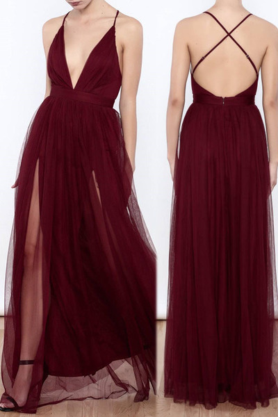 Sexy Deep V Neck Burgundy Long Slit Prom Dress Evening Dress