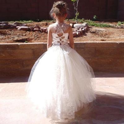 Cute A-line White Long Flower Girl Dress