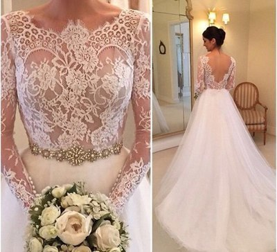 Gorgeous Lace Long Sleeves White Long Bridal Gown Wedding Dress