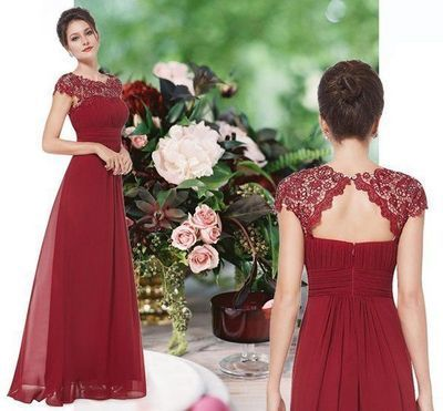 Elegant A-line Burgundy Long Chiffon Prom Dress Formal Evening Dress