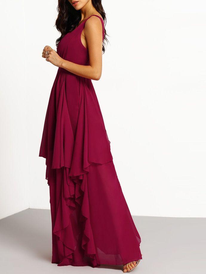 Elegant A-line V-neck Long Chiffon Prom Dress Party Dress