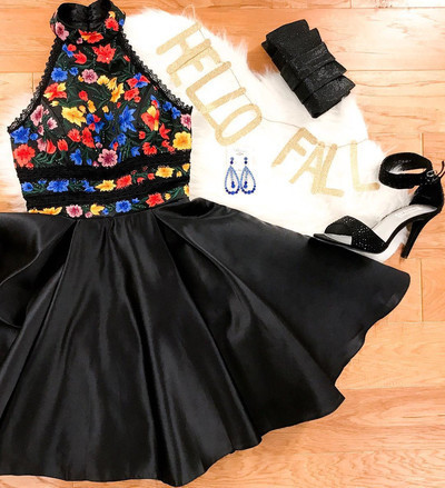 High Neck Short Black Prom Dress with Floral Embroidery