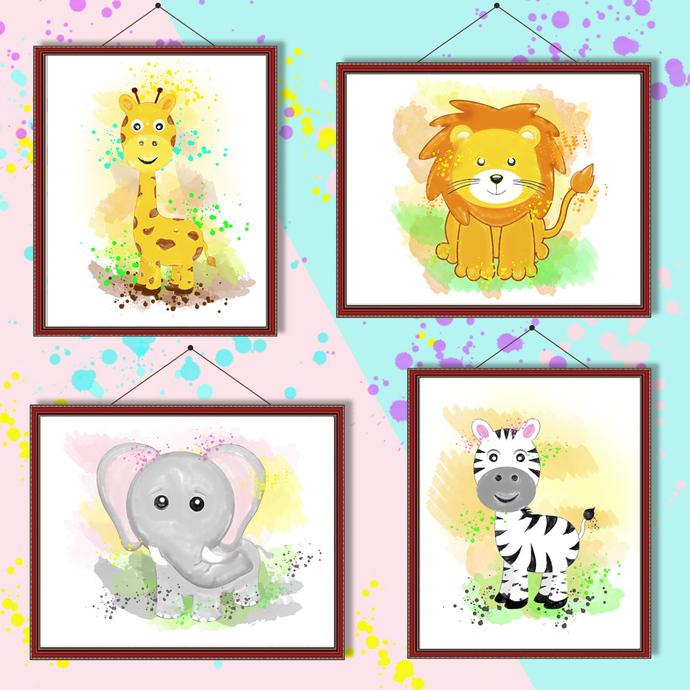 Zoo animals watercolor, Zoo animals print, Zoo animals poster, wall decor,