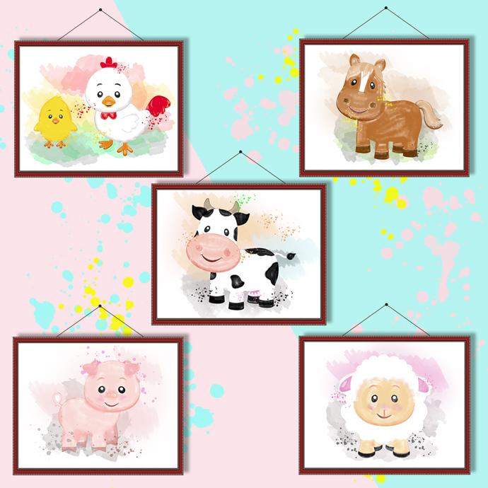 Farm animals watercolor, Farm animals print, Farm animals poster, wall decor,