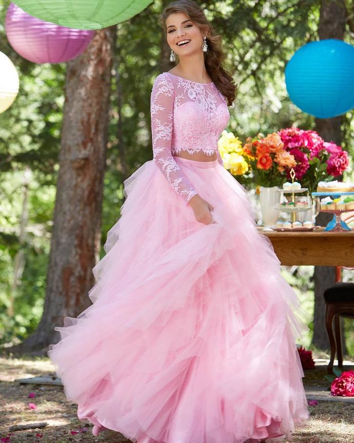 Two Piece Long Prom Dress,Long Sleeves Prom Dress, Pink Long Prom Dress, Blue