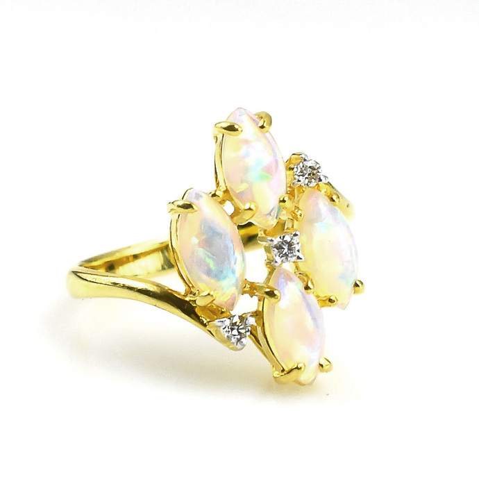 14K Gold Diamond Ethiopian Opal Delicate Ring Jewelry